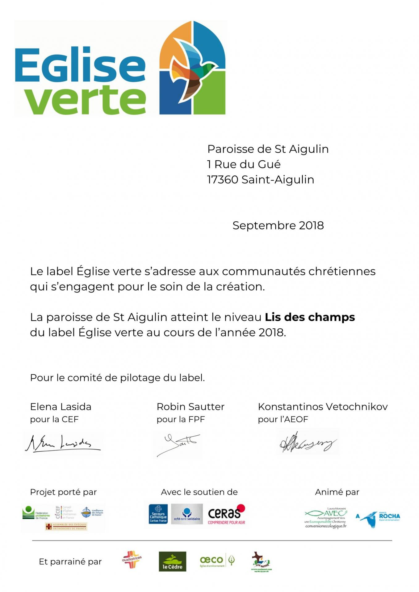 Attestation label paroisse de st aigulin 3985 page 1